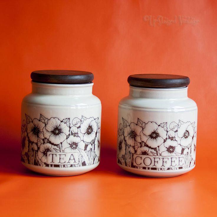 Vintage Retro 1970s Hornsea Pair of Lancaster Vitramic CORNROSE Tea and Coffee Jars by UpStagedVintage on Etsy