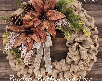 Christmas Burlap Wreath with Bronze and Champagne Pink Pointsettas
