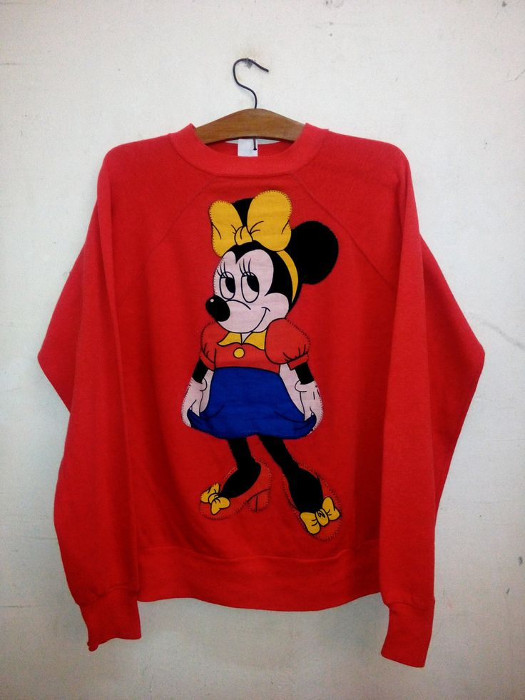 Sale Rare !! Vintage 70's Minnie Mouse by Walt Disney Funny Animal Cartoon Character Ub Iwerks Spell Out Big Logo Crew Neck Sweatshirt Sz L by Psychovault on Etsy