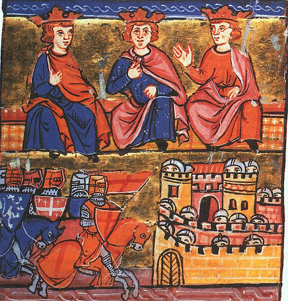 Second Crusade council: Conrad III of Germany, Eleanor's husband Louis VII of France, and Baldwin III of Jerusalem.