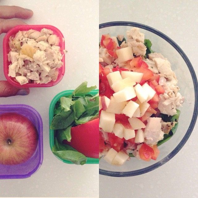 The 21 Day Fix is a combination of workouts + meal plan + color coded containers + Shakeology + accountability group. It's hard to pick which component is my favorite, but the containers are up there!! They let my creativity in the kitchen run free while keeping my portions on point and making sure I eat ENOUGH of the good stuff! Today's lunch is: Rotisserie Chicken Cubed Apple Red Pepper Spinach & Kale
