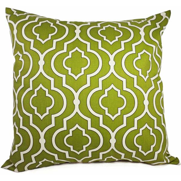 Pillow Covers Green Quatrefoil - Two 18 x 18 Inch Pillow Covers - Green Moroccan Trellis Pillow - Quatrefoil Pillow - Green Accent Pillow (352.960 IDR) found on Polyvore