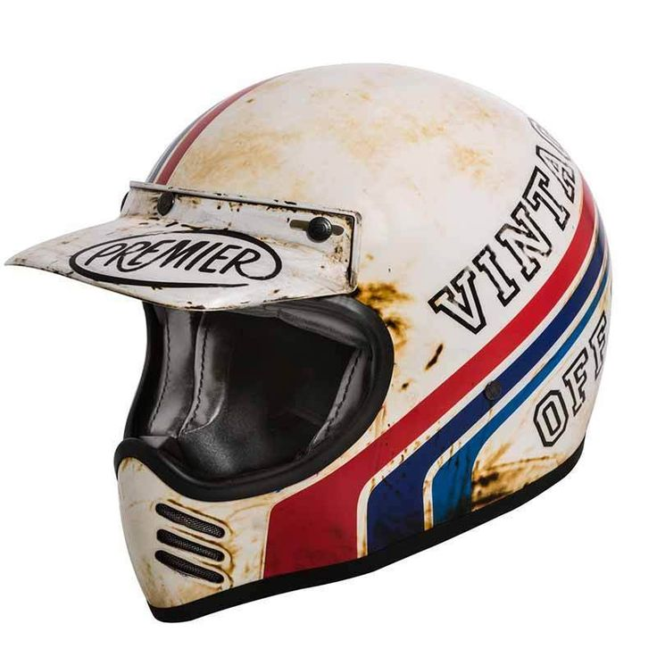 "PREMIER Trophy MX ""BTR 8 BM"". Vintage used look on this retro motorcycle helmet. Comes with ECE safety standard."