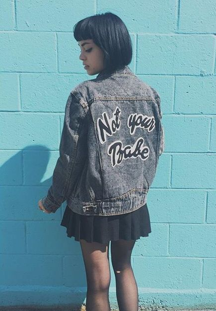 "Rena Lovelis ""not your babe"" jacket."