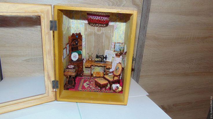 Купить Швейный румбокс 1:12 - коллекционная миниатюра, миниатюра 1 12, кукольный дом, румбокс