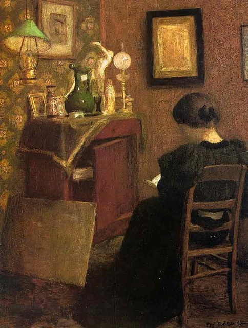 Henri Matisse, Femme lisant, 1895. Dit schilderij uit zijn beginperiode toont Caroline Joblaud in het kleine Parijse appartment waar ze met Matisse en hun dochter woonde.