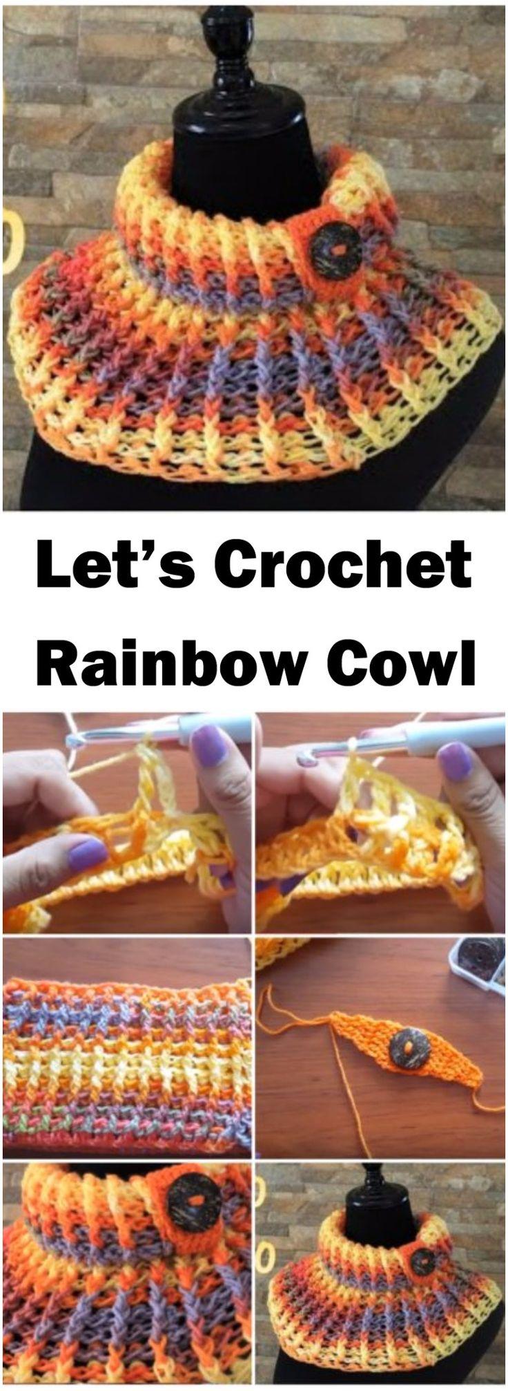 Crochet Rainbow Cowl