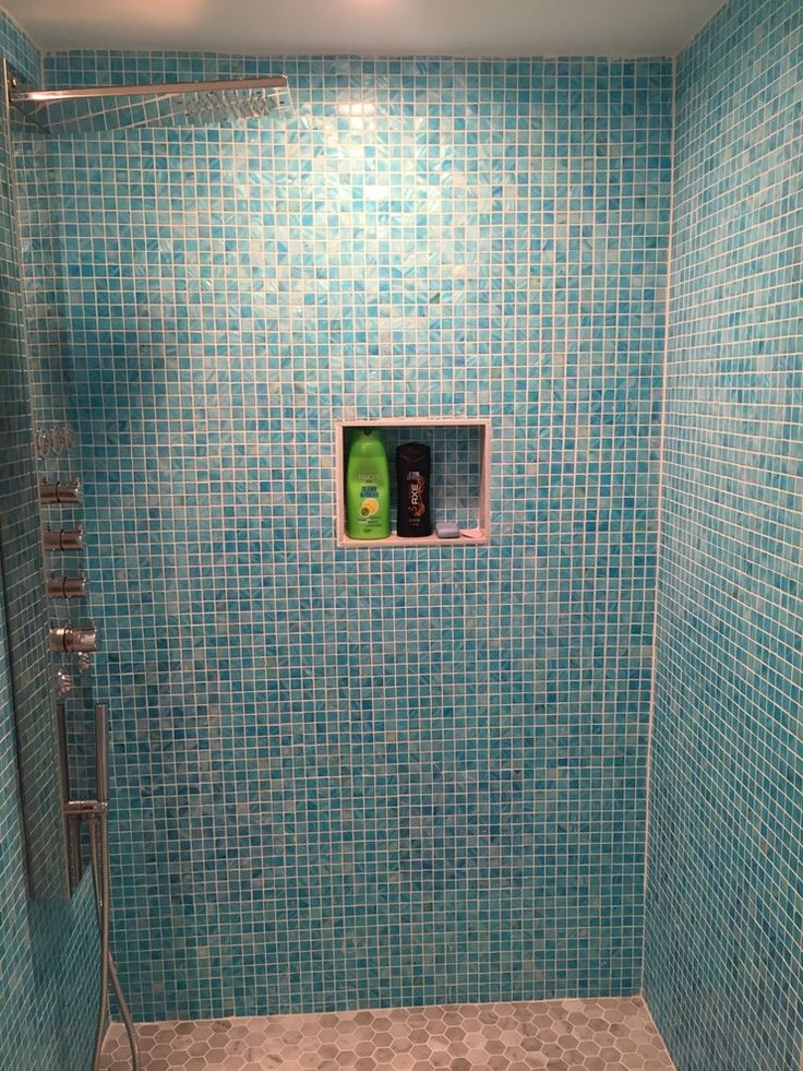 Dyed shell mosaic used as wall tile
