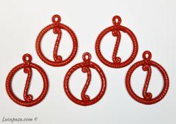 Set di 5 ciondoli rossi da appendere