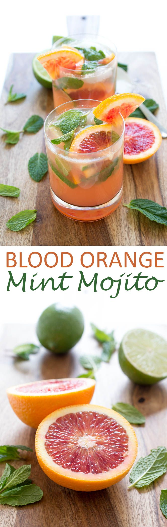 Blood Orange Mojito made with fresh mint, simple syrup, blood orange and lime juice.