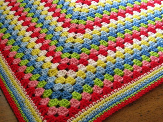 Fabulous Cath Kidston coloured vintage/retro style Granny Square Blanket. This blanket has been crocheted in gorgeous fresh vibrant bright colours