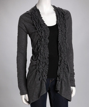 Love this Rain Charcoal Ruffle Open Cardigan by Rain & Miss Finch on #zulily http://www.zulily.com/invite/blondemomblog