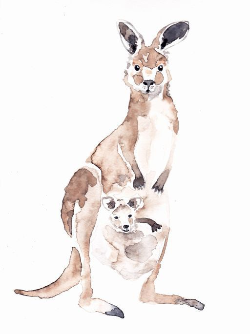 MOM KANGAROO with BABY Original watercolor painting by Mydrops