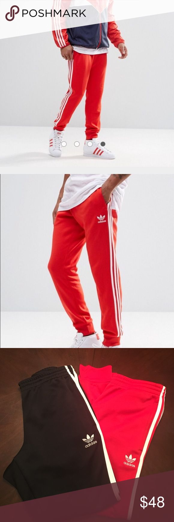 MEN's Adidas Originals Trefoil Cuffed Joggers Great pair of Adidas joggers just in time for Fall! Worn 2/3x! Excellent Condition! ⭐️⭐️ 2 pair! Red and Black Adidas Pants Sweatpants & Joggers