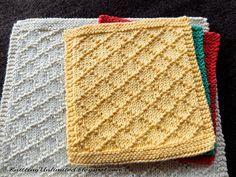 Diamond Brocade knitted dishcloth pattern