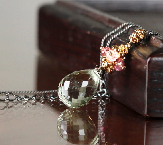 Black Friday SALE - Green Quartz Pink Zircon Necklace by sonhee on Etsy, $45.00