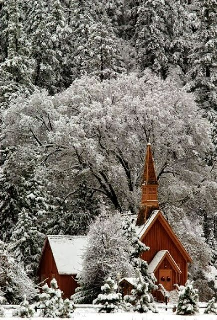 Yosemite Chapel in the snow :) I took a picture of this church when we were in Yosemite several years ago. I would have loved to have seen it in the snow.