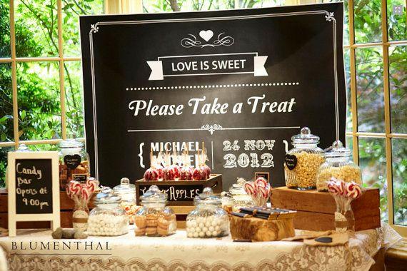 Rustic Blackboard Vintage Sweet Table / Candy Buffet Printable Backdrop / Wedding / Birthday