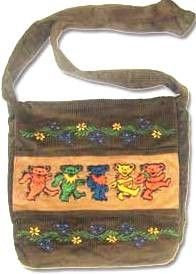 "Grateful Dead - Corduroy Purse with Embroidered Dancing Bears - $31.99 Handmade corduroy Dancing Bears shoulder bag. Interior has a zipper pocket and there's a stealth pocket on the shoulder strap. Bag measures 13"" x 11"" x 2 3/4"". Officially licensed Grateful Dead merchandise."