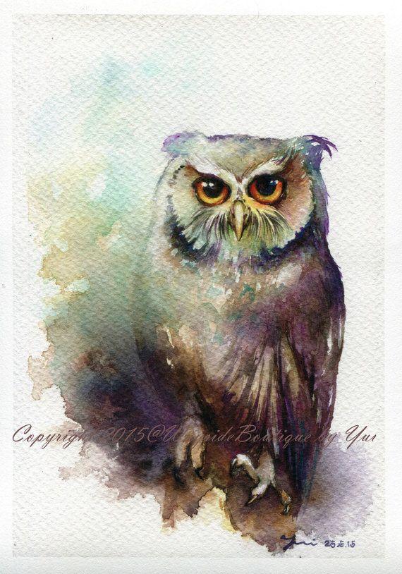 "PRINT – Owl Watercolor painting 7.3 x 11"""