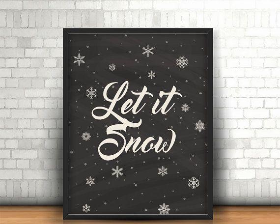 Christmas printable wall art decor 'let it by BeePrintDesigns