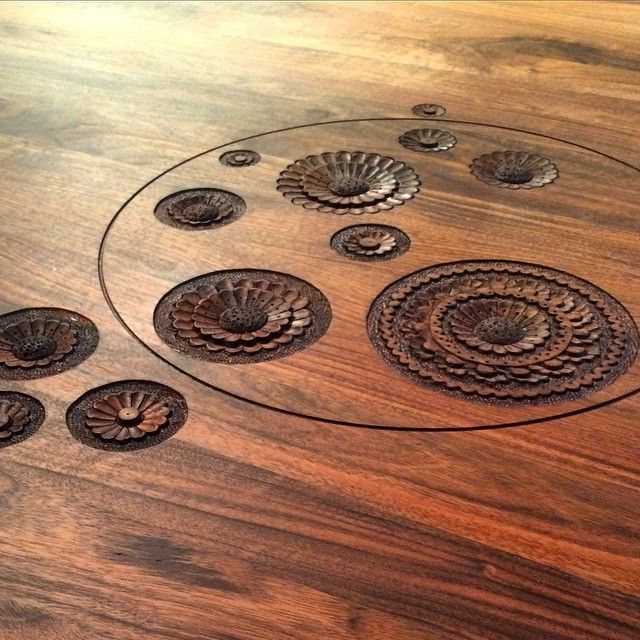 """""""Delicate hand-carvings adorn a table by new design brand Zanat, featuring work by @monicaforsterdesignstudio"""