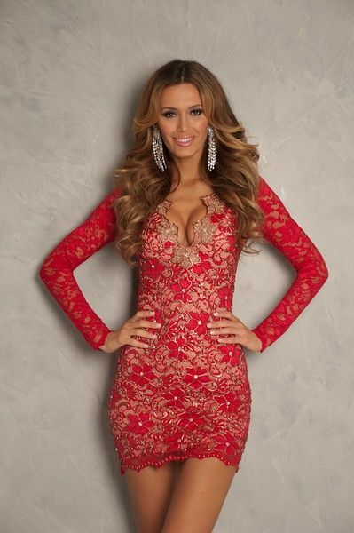 Fitted red lace cocktail dress