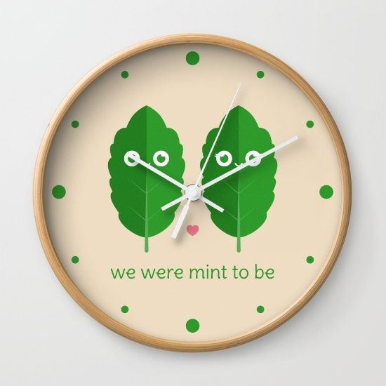 We Were Mint to Be Wall Clock - pun, puns, mint, minty, herb, herbs, food, funny, cute, love, relationship, tasteful, tasty, relationships, valentine, valentines, vector, art, illustration, drawing, design
