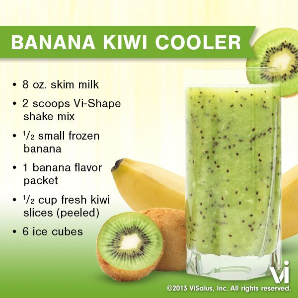 Try this recipe for a Banana Kiwi Cooler ViSalus Shake to keep you full and refreshed!