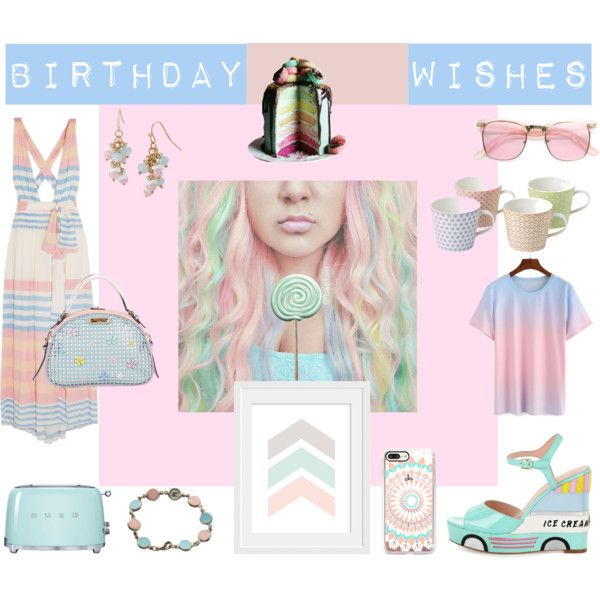 Birthday Wishes by inogitnadesigns on Polyvore featuring Mara Hoffman, Kate Spade, Nicole Lee, Mixit, Courrèges, Casetify, ZeroUV, Royal Doulton and Smeg