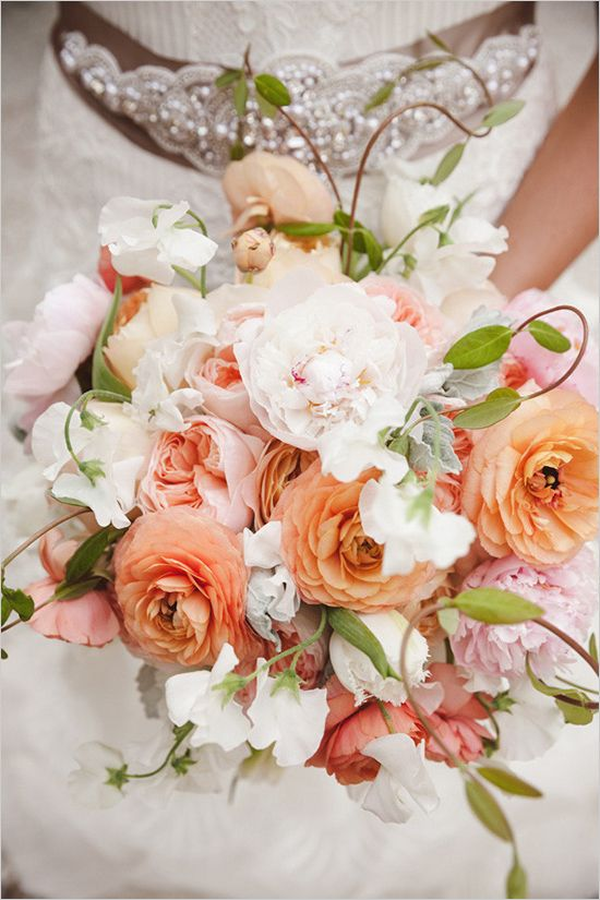 romantic rose, ranunculus and peony bouquet with sweet peas in shades of blush, peach and pink by Branch Design Studio