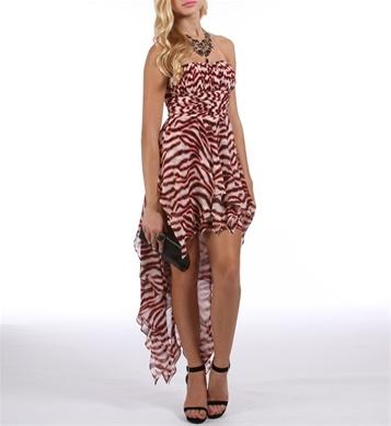 Jennifer Red/Black Animal Print Prom Dress