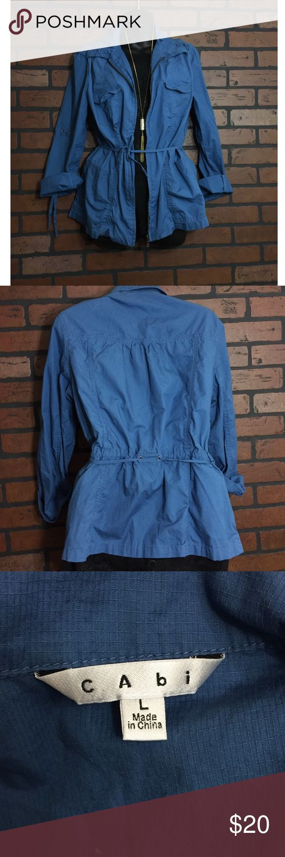 Cabi Blue Zip Up Jacket Cabi size large. Blue zip up with tie around waist. Can also pin up sleeves. Great condition CAbi Jackets & Coats Utility Jackets
