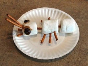 Marshmallow Ant: A fun activity when learning about insects. Just marshmallows, pretzel sticks, mini M&Ms and because of nut allergies I would use frosting to hold the eyes on. Cute and simple! Image Only
