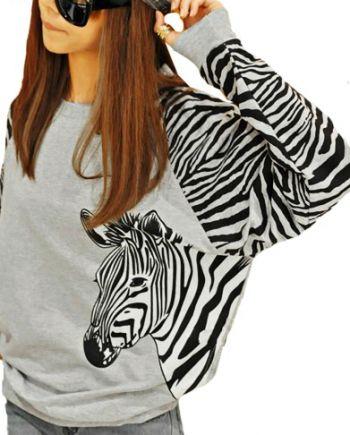 Bluză gri din bumbac cu imprimeu zebră