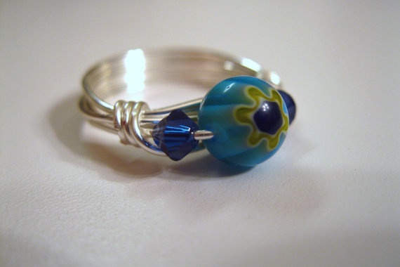 Glass Blue Flower Wire Wrapped Ring