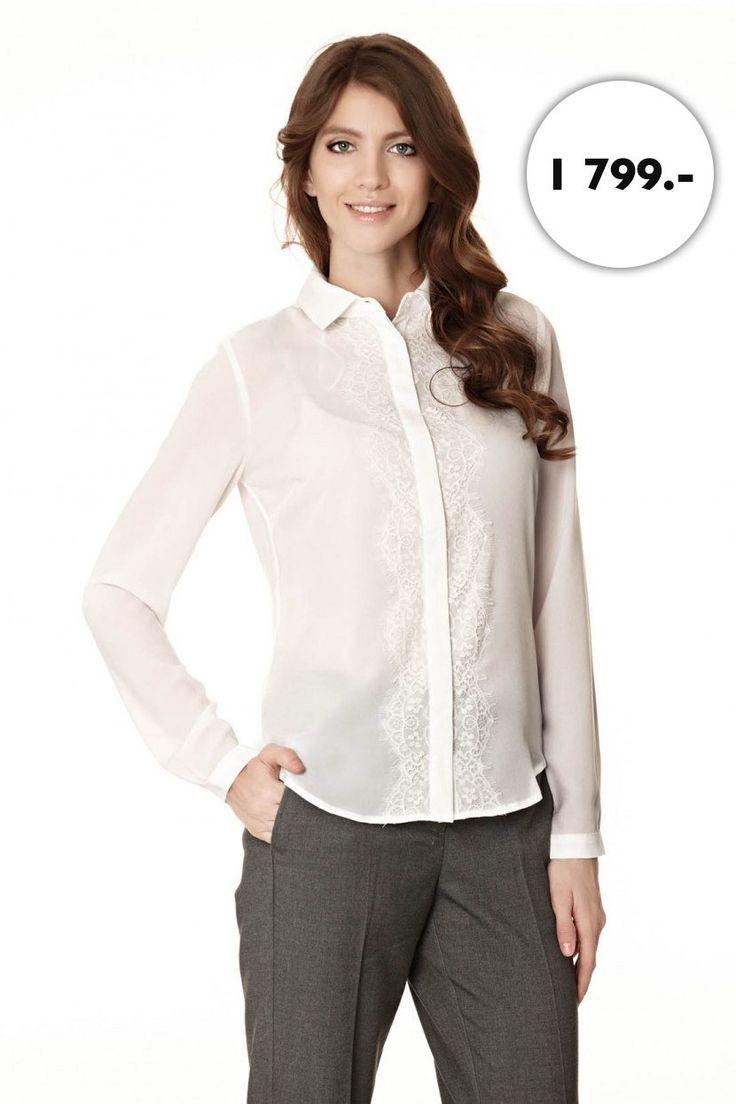 Сделать деловой наряд чуть более женственным и романтичным Вам поможет легкая блузка с кружевной вставкой вдоль застежки. Узкие манжеты и отложной воротник изделия гармонично поддерживают общий образ легкости и изящества.  http://baonshop.ru/catalog/model/id/tsb-tso-003089/specialColorName/WHITE