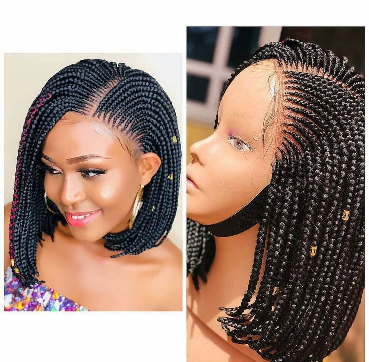 Bob Box Braid Wig For Black Women Coiffure Africaine En