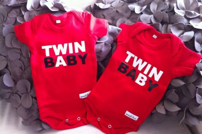 TWIN- Baby A and Baby B by Monkeybum Clothing