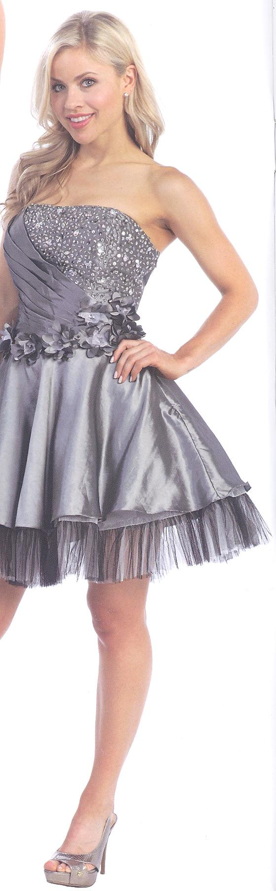 Find Your Flair for fun in this short dramatic dress with partially pleated bodice embellished with bead work and large stones, lace up back for flexible fit,soft floral accents at waist line leading to the solid shimmer skirt and peek-a-boo tulle hemline for dancing the night away!  $118.00