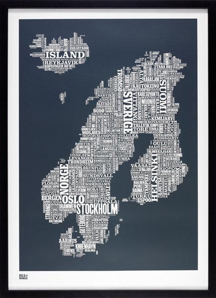 Scandinavia Type Map - Bold & Noble - Tapetorama Design Store