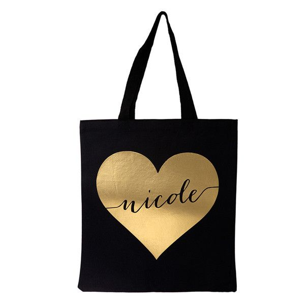personalized gold heart tote bag