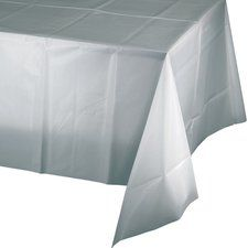 Shimmering Silver Party Supplies Rectangular Plastic Tablecover, 54 X 102