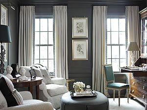 white curtain on dark paneling. Amy Morris
