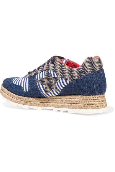 Stella McCartney - Macy Denim, Striped Canvas And Jute Sneakers - Navy