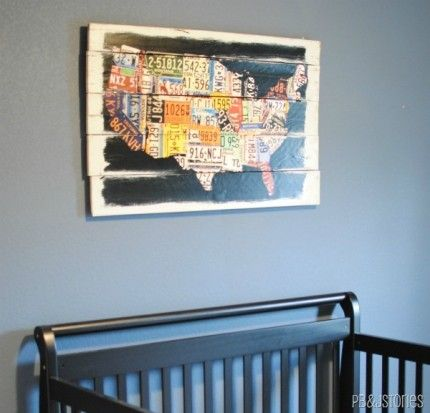 Wall art made from a poster and pallet boards....not exactly this, but it has a good how-to for similar projects