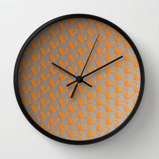 Orange butterflies pattern on grey background wall clock