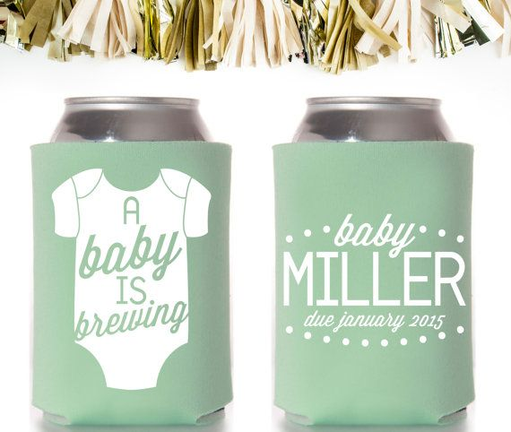 Personalized koozies are a fun and affordable favor for your shower guests! Customize this cute A Baby Is Brewing koozie for a baby shower today!