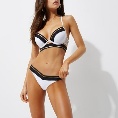River Island Womens White sporty tipped strappy plunge bikini top