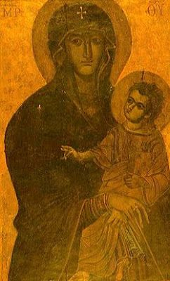 "On the Feast of Our Lady of the Snow!  This, the oldest image of Our Lady in Rome, can be found within the ""Lady of the Snow"" basilica of St. Mary Major in Rome.  It is known bythe title of Salus Populi Romani (Well-being of the Roman people) -- and is the image associated with Our Lady of the Snow.  Se the snowflake on the Blessed Mother's shoulder? It was brought to Rome from the Holy Land from St. Helen, mother of Constantine, and is said to have been painted by St. Luke!"